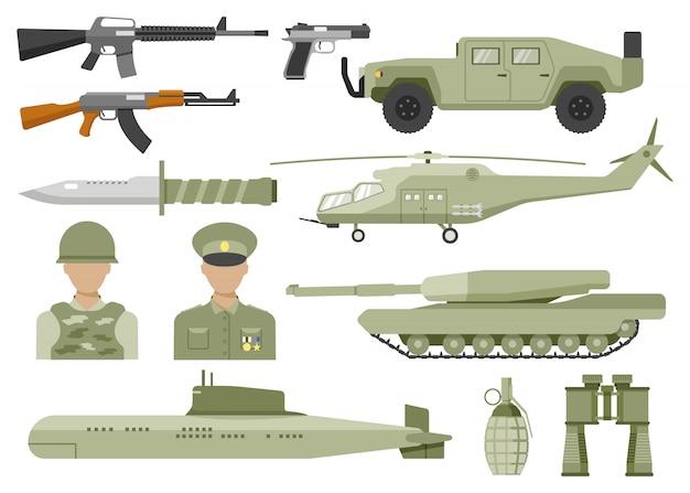 Conjunto de iconos planos decorativos del ejército