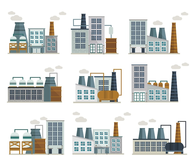 Conjunto de iconos planos decorativos de fábrica