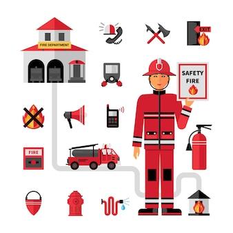 Conjunto de iconos planos de departamento de bomberos