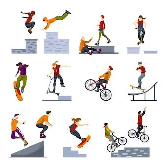 Conjunto de iconos planos de deportes de ciudad extrema