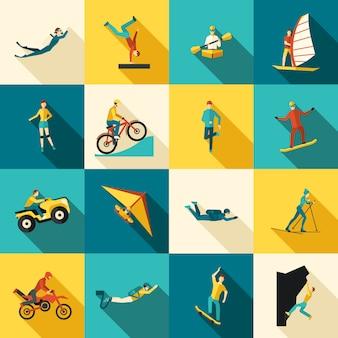 Conjunto de iconos planos de deportes extremos