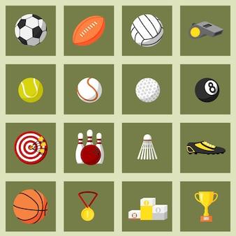 Conjunto de iconos planos de deportes