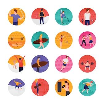 Conjunto de iconos planos deportivos y olímpicos