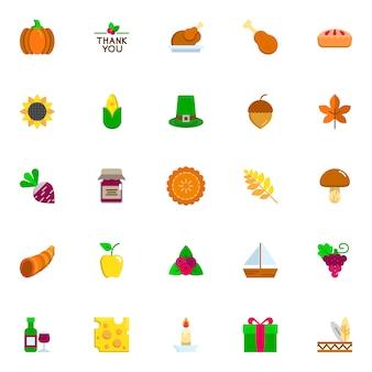 Conjunto de iconos planos del día de acción de gracias.