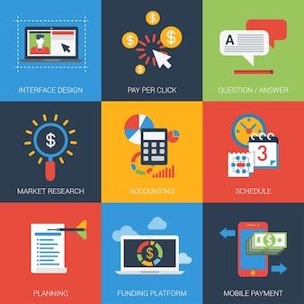Conjunto de iconos planos diseño de interfaz de proyecto web investigación de marketing