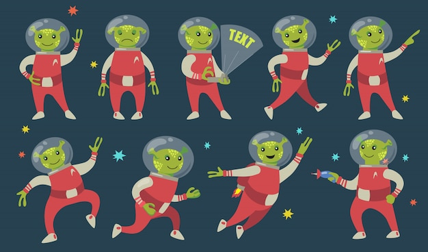 Conjunto de iconos planos divertidos alienígenas verdes