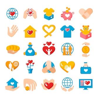 Conjunto de iconos planos de donación de caridad