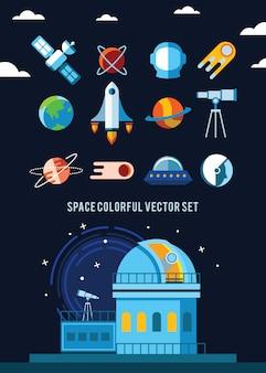 Conjunto de iconos planos e ilustraciones. planetas, cohetes, estrellas