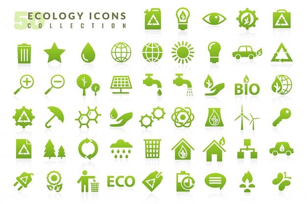 Conjunto de iconos planos de ecología