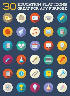 El conjunto de iconos planos de educación se puede utilizar como logotipo o icono en calidad premium