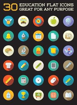 Conjunto de iconos planos de educación vector