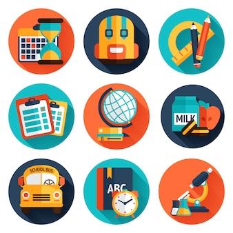 Conjunto de iconos planos de educación