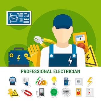 Conjunto de iconos planos electricista