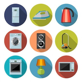 Conjunto de iconos planos de electrodomésticos