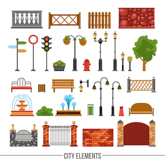 Conjunto de iconos planos de elementos de la ciudad