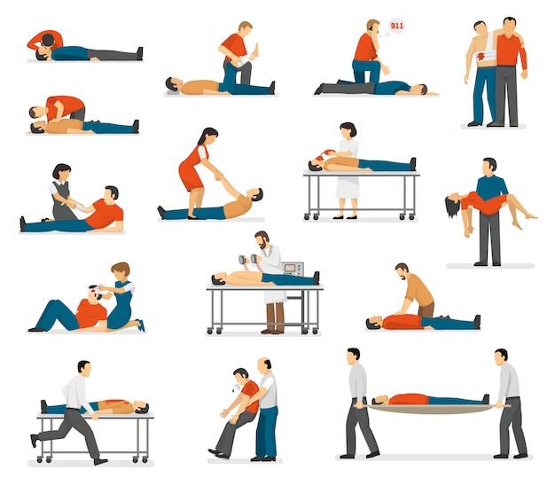 Conjunto de iconos planos de emergencia de primeros auxilios