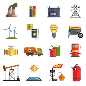 Conjunto de iconos planos de energía energía
