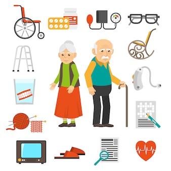 Conjunto de iconos planos de envejecimiento personas accesorios
