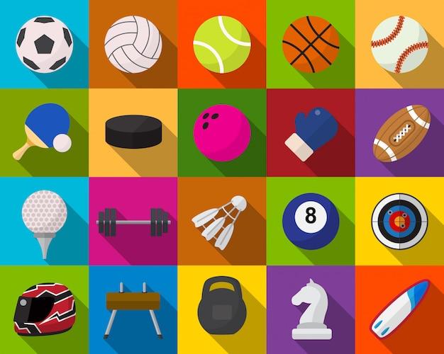 Conjunto de iconos planos de equipamiento deportivo