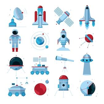 Conjunto de iconos planos de espacio