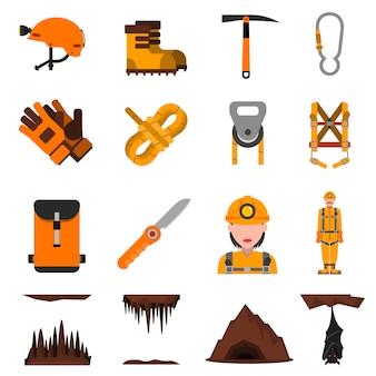 Conjunto de iconos planos de espeleología