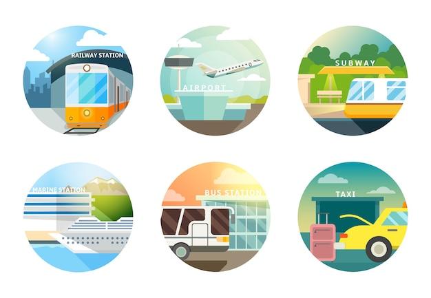 Conjunto de iconos planos de estaciones de transporte. transporte y ferrocarril, aeropuerto y metro, metro y taxi