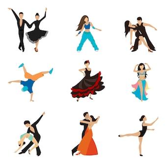 Conjunto de iconos planos de estilos de baile. pareja de baile de vals, ejecutante de tango, mujer y hombre.