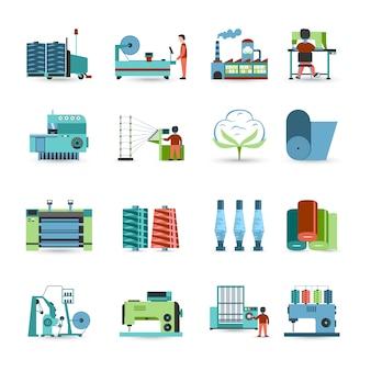 Conjunto de iconos planos de fábrica de textiles