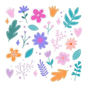 Conjunto de iconos planos de flores de primavera en silueta aislado