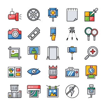 Conjunto de iconos planos de fotografía y gráficos