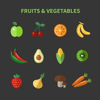 Conjunto de iconos planos de frutas y verduras. manzana y cereza, aguacate y maíz y zanahorias