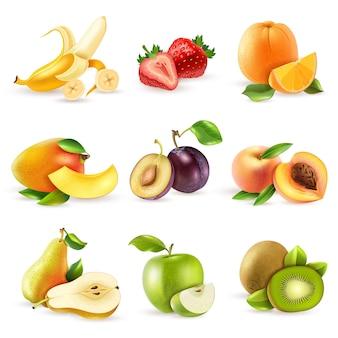 Conjunto de iconos planos de frutas