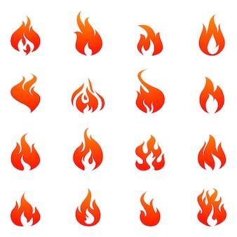 Conjunto de iconos planos de fuego