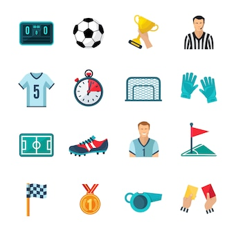 Conjunto de iconos planos de fútbol