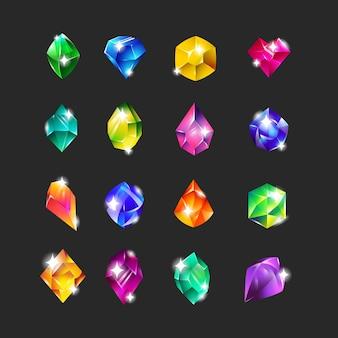 Conjunto de iconos planos de gemas multicolores reales