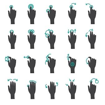 Conjunto de iconos planos de gestos táctiles de mano
