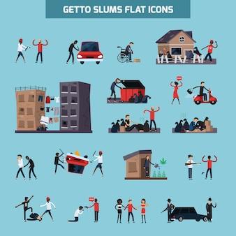 Conjunto de iconos planos ghetto slum