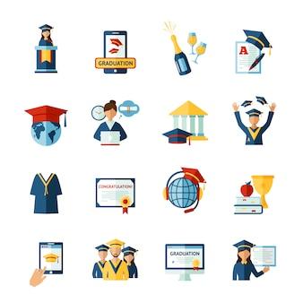 Conjunto de iconos planos de graduación escolar