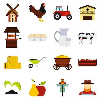 Conjunto de iconos planos de granja