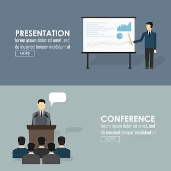 Conjunto de iconos planos de hablar en público de presentación de negocios debates políticos figura discurso aislado ilustración vectorial
