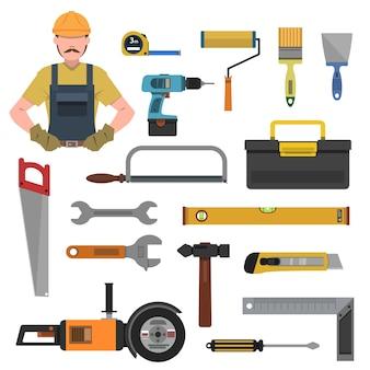 Conjunto de iconos planos de herramientas