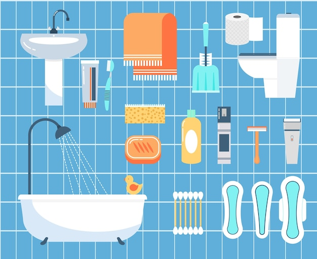 Conjunto de iconos planos de higiene personal. palo de oreja, navaja y cepillo, servilleta y baño