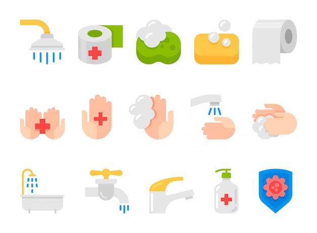 Conjunto de iconos planos de higiene