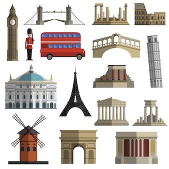 Conjunto de iconos planos de hito de viaje
