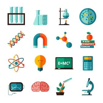 Conjunto de iconos planos de iconos de ciencia