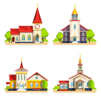 Conjunto de iconos planos de la iglesia