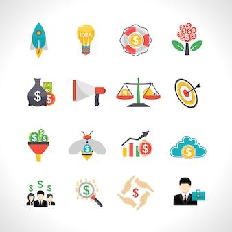 Conjunto de iconos planos de inicio crowdfunding