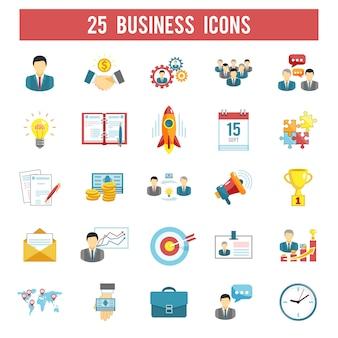 Conjunto de iconos planos de inicio de negocios