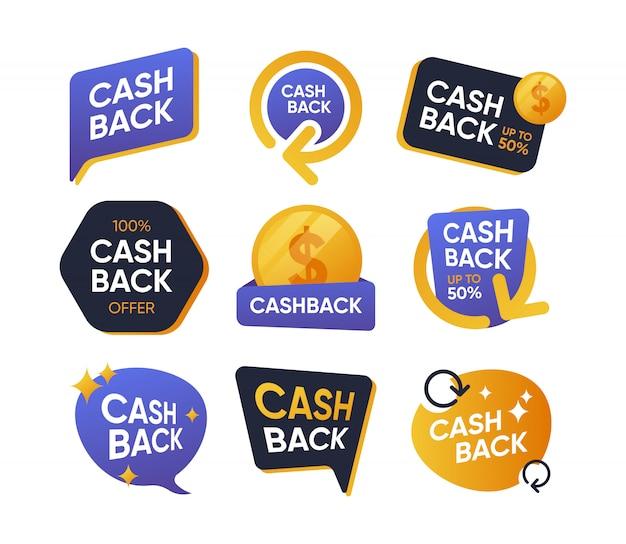 Conjunto de iconos planos de insignias de devolución de dinero