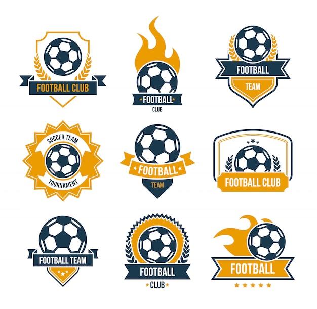 Conjunto de iconos planos de insignias de fútbol